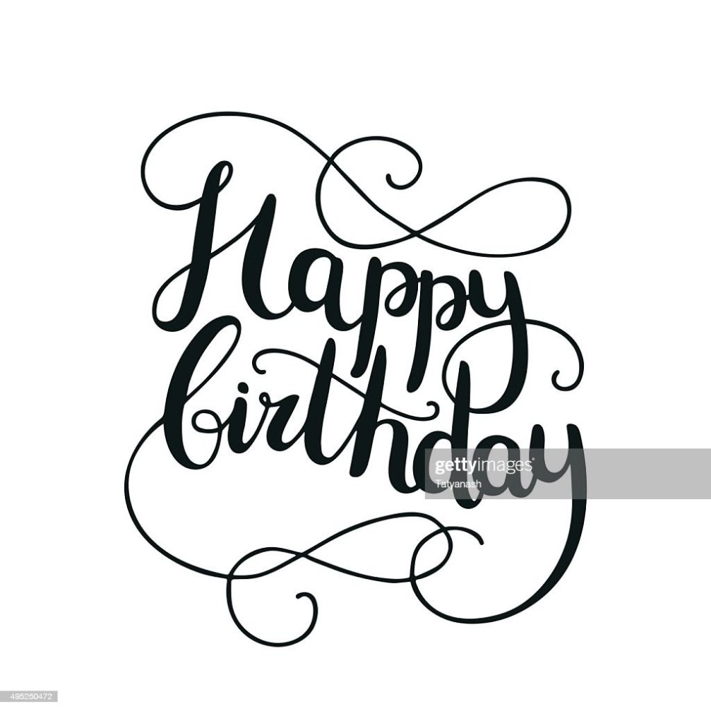 Happy Birthday Card With Hand Drawn Lettering Vector Art