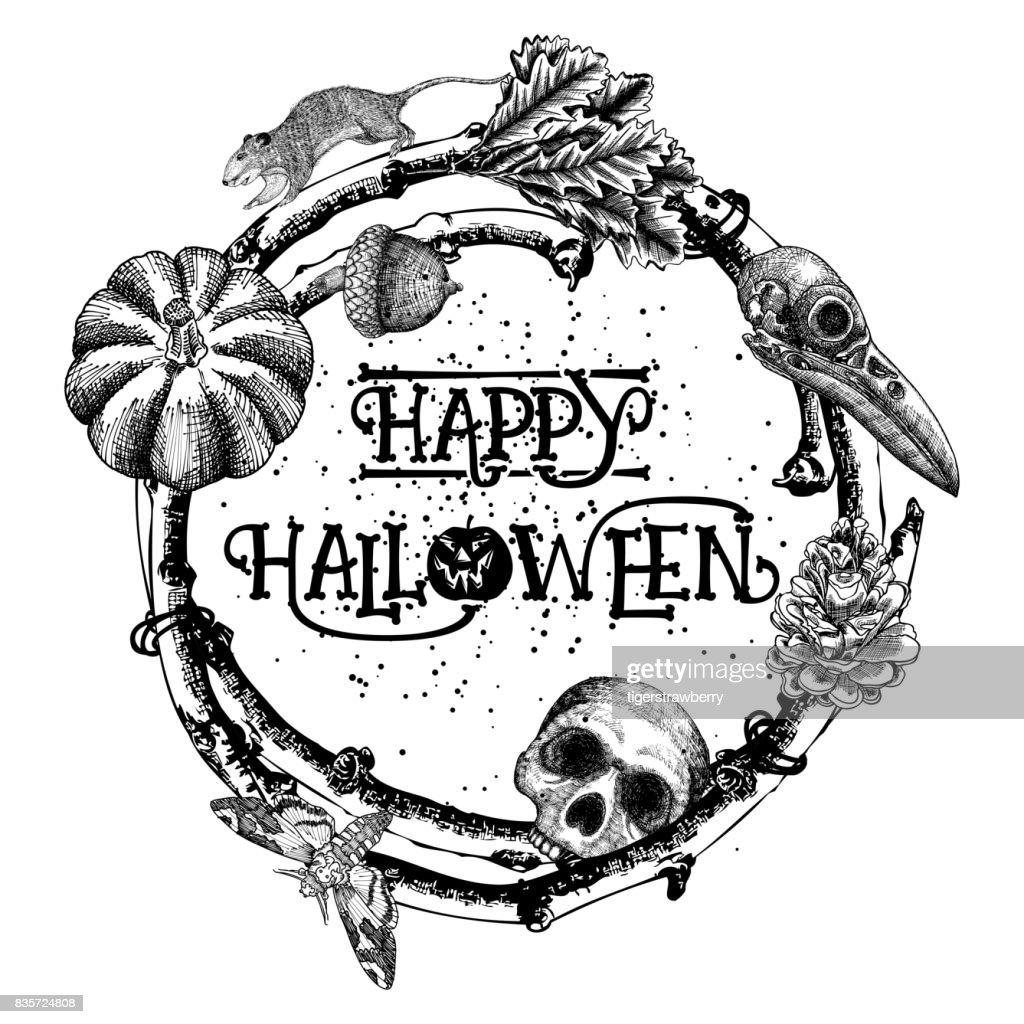 When a witch lands on your mailbox, you know it. Happy Halloween Sign And Poster Halloween Decoration In Twig Frame Hand Drawing Witchcraft Attributes Human Skull Crow Skull Rat Monster Oak Nut Pumpkin Pinecone Moth Deathshead Hawkmoth High Res Vector Graphic Getty