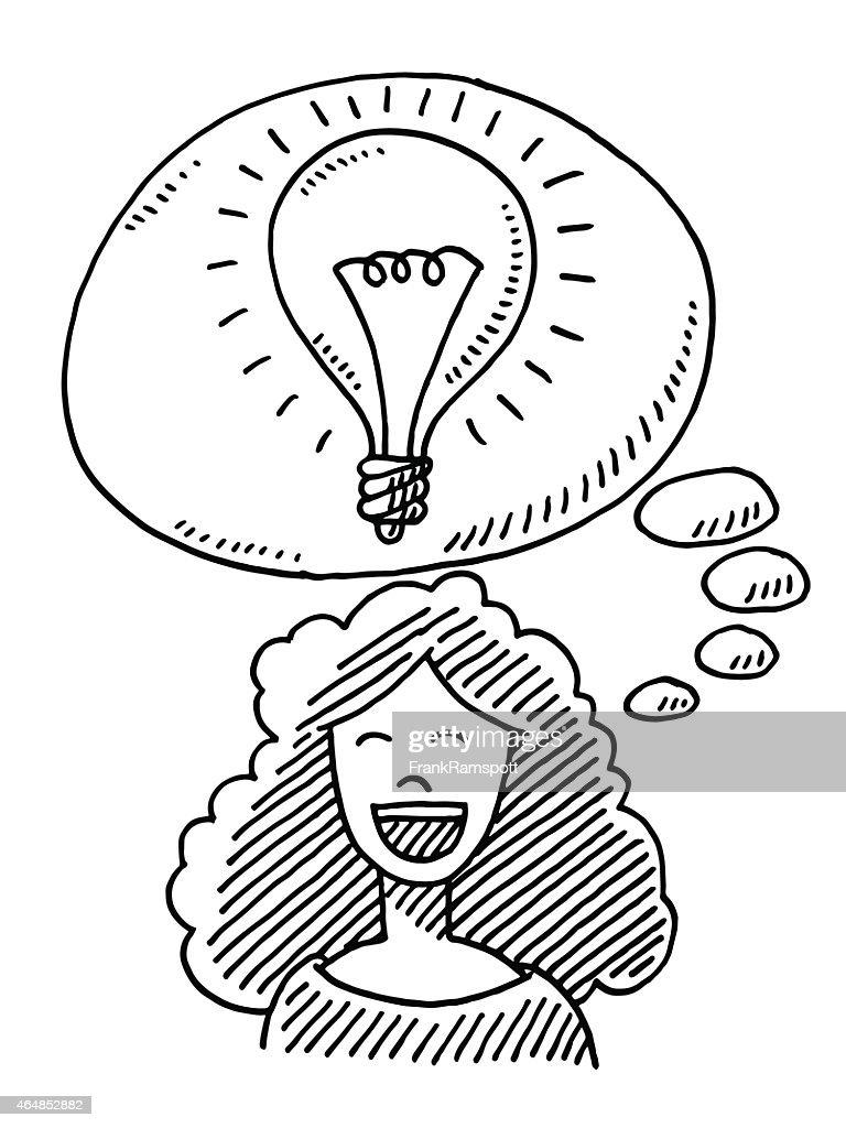 https www gettyimages ch detail illustration happy woman idea lightbulb drawing lizenfreie illustration 464852882 language fr
