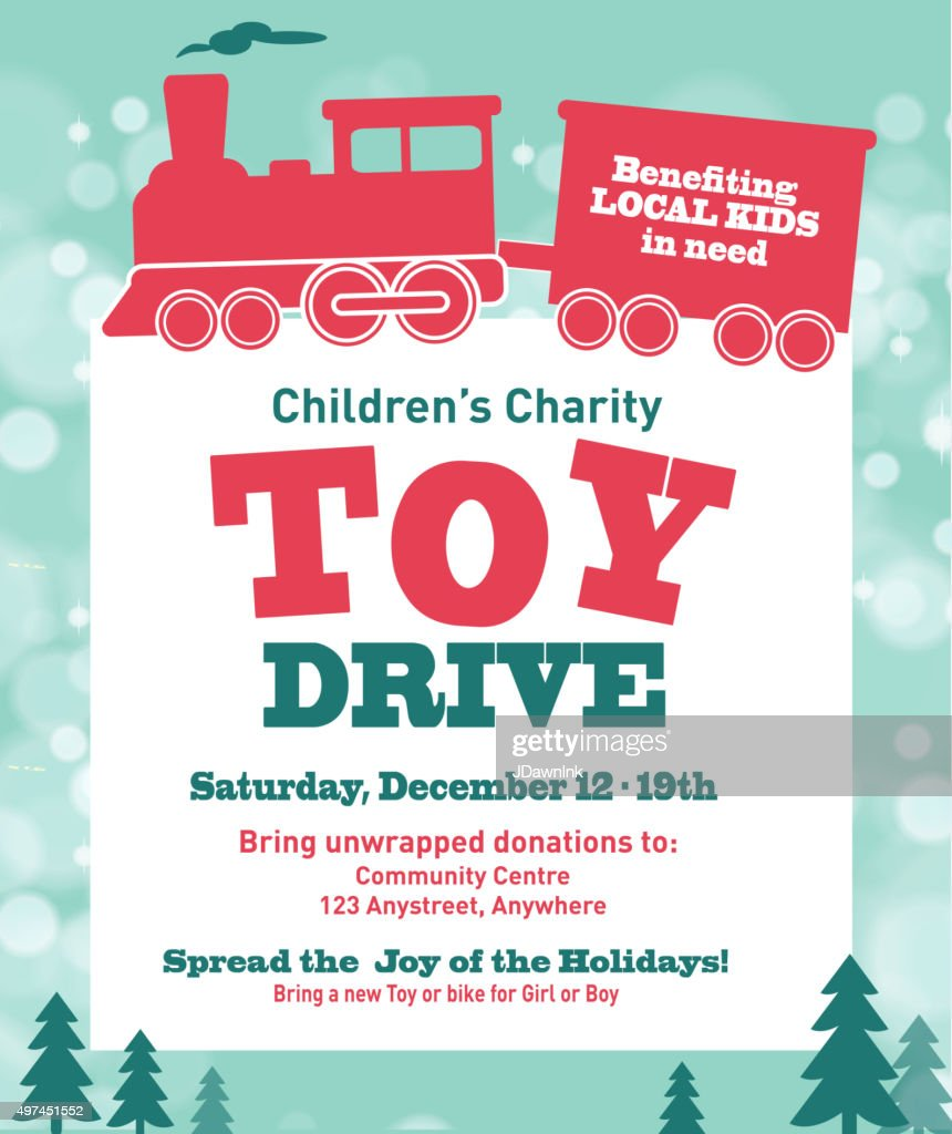 Holiday Charity Toy Drive Fundraiser Poster Design Retro