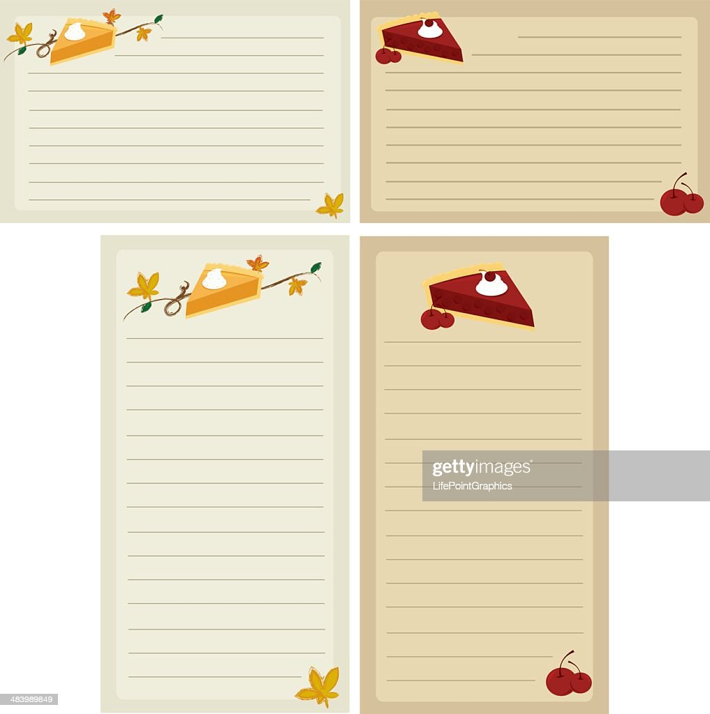 Holiday Pie Recipe Cards And Shopping Lists : Vector Art