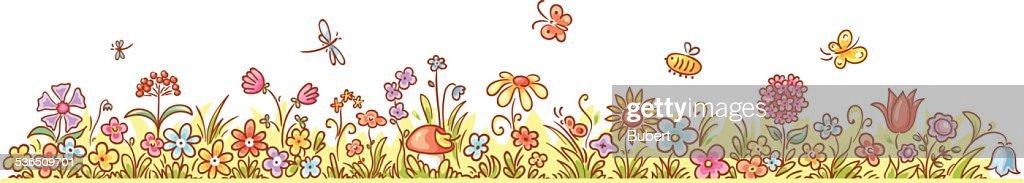 border flower horizontal cartoon vector artist similar