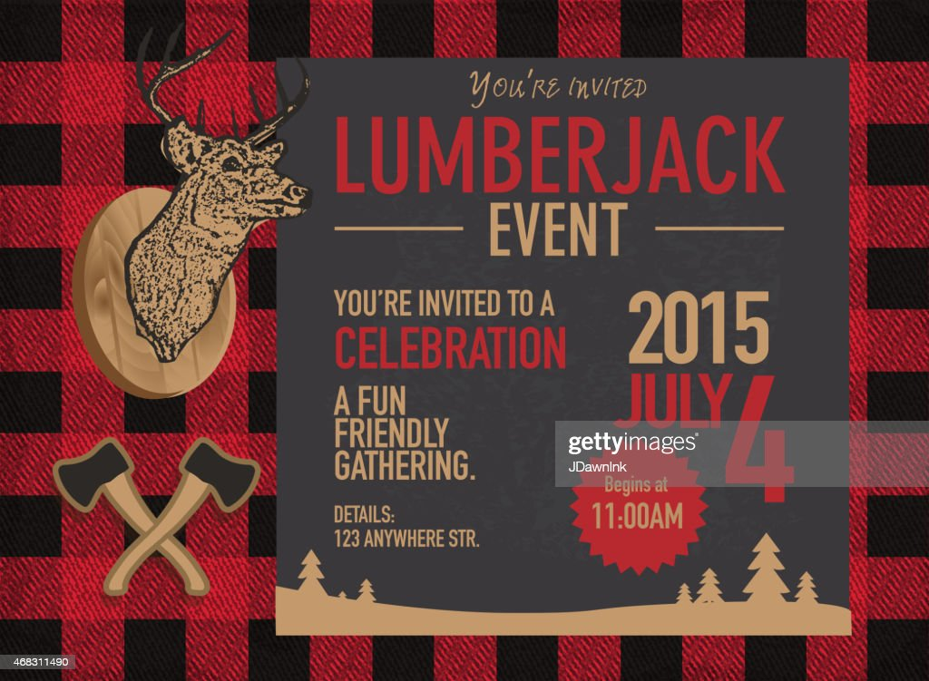 https www gettyimages com detail illustration horizontal chalk lumberjack party invitation royalty free illustration 468311490