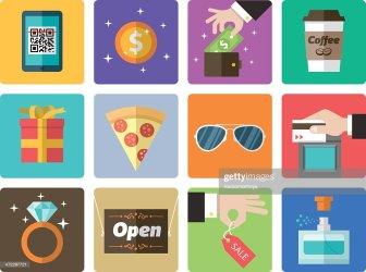 mall shopping icon vector cartoons rf illustrations vectors