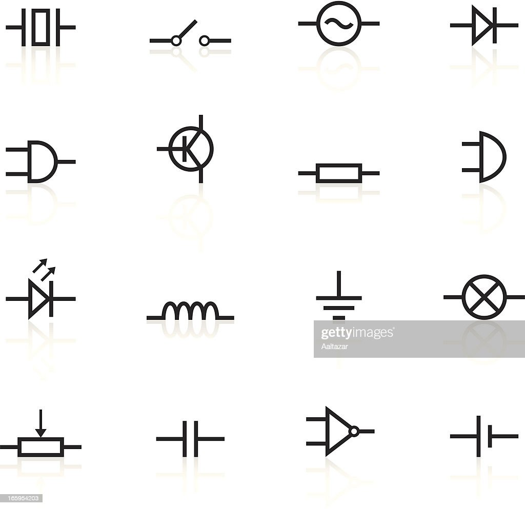 Illustrated Black Electronic Component Icons Stock
