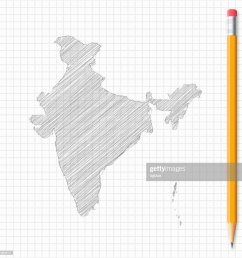 india map sketch with pencil on grid paper vector art [ 1024 x 1024 Pixel ]
