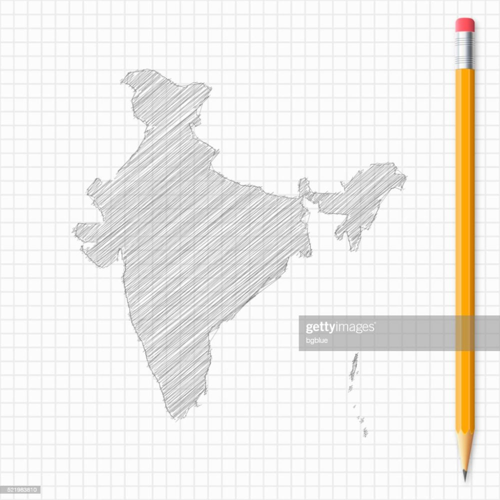 medium resolution of india map sketch with pencil on grid paper vector art