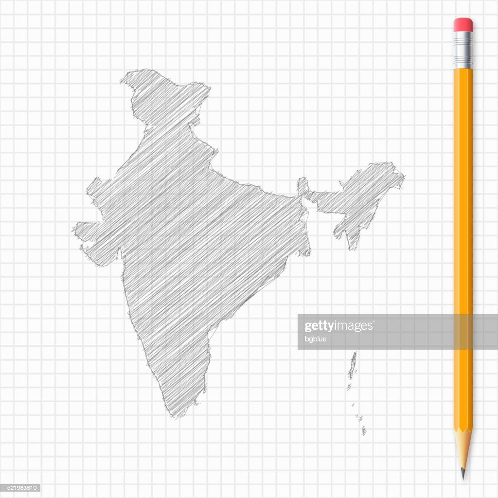 hight resolution of india map sketch with pencil on grid paper vector art