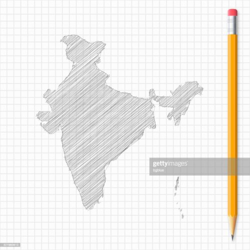 small resolution of india map sketch with pencil on grid paper vector art