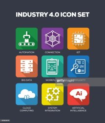 Industry 40 Icons Set Vector Art Getty