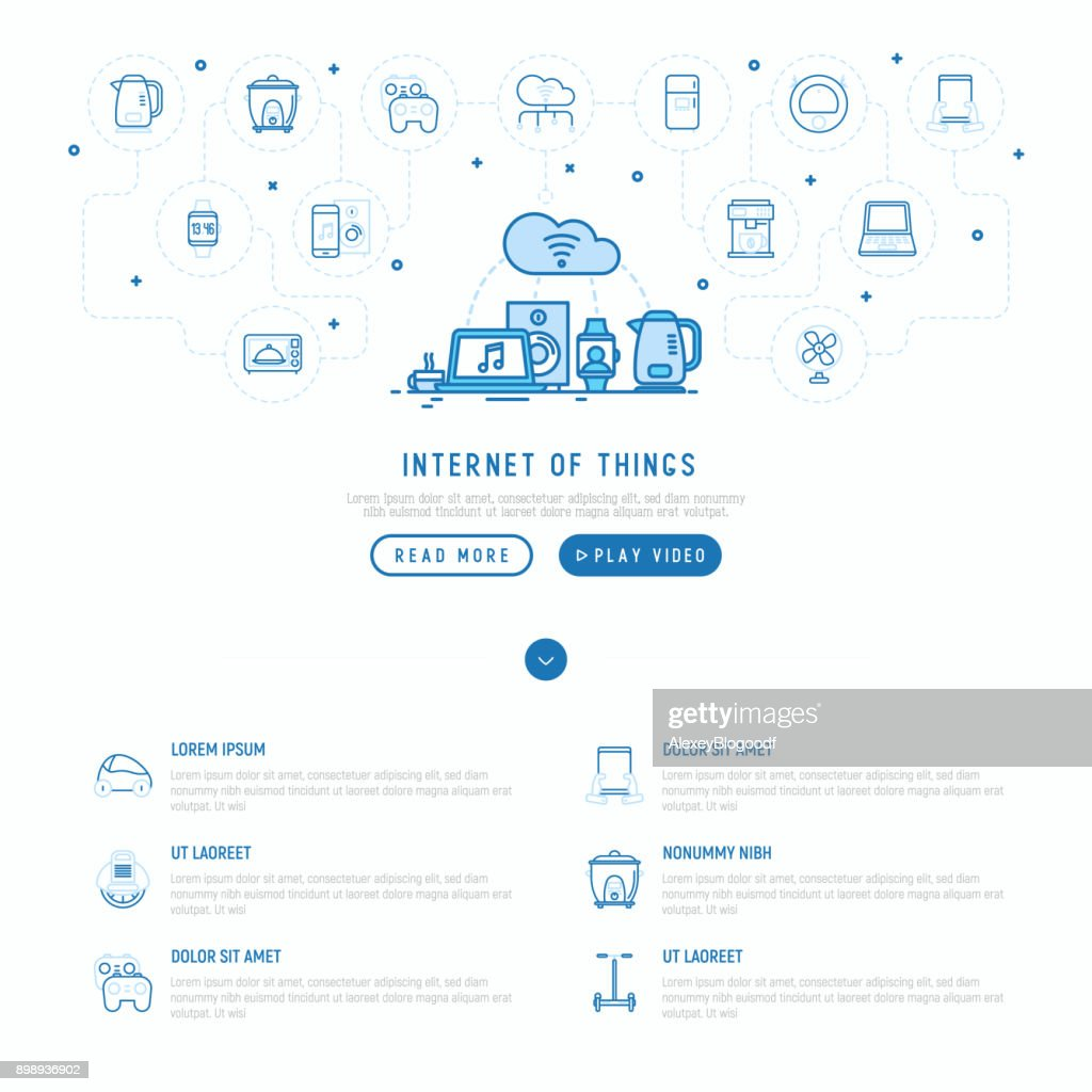 hight resolution of internet of things concept with thin line icons laptop smart watch smart car parts diagram smart