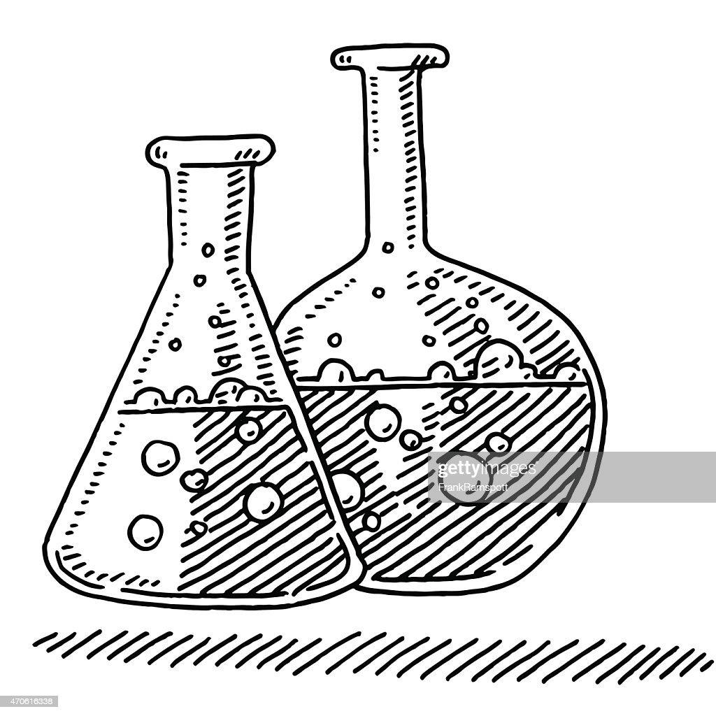 Laboratory Flasks Chemistry Symbol Drawing Vector Art