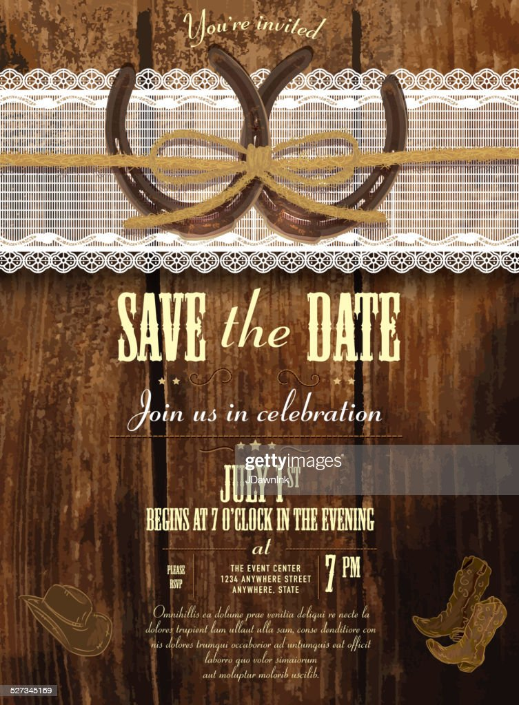 Leather Wood And Lace Country And Western Invitation Design Template Vector Art Getty Images