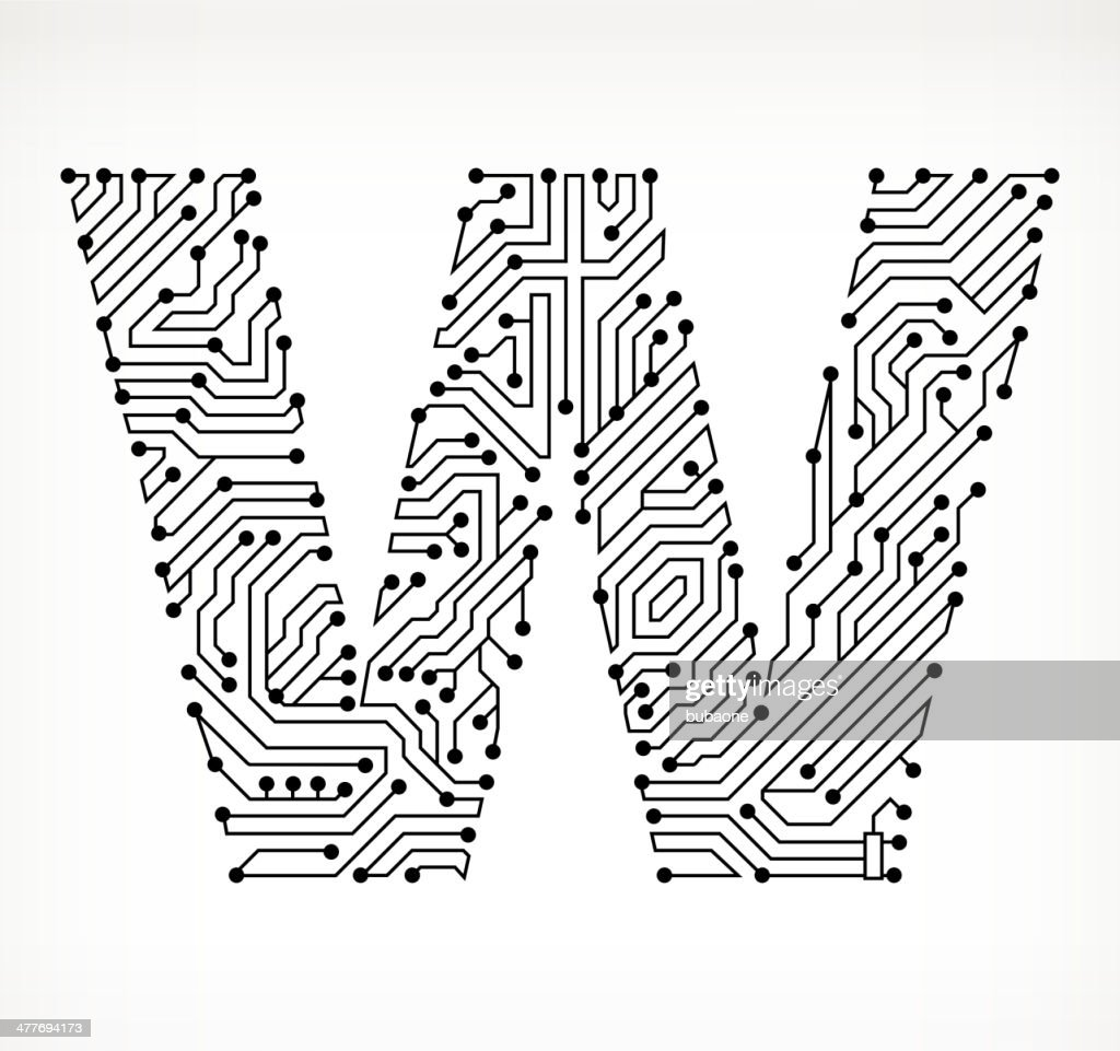 Letter W Circuit Board On White Background Vector Art