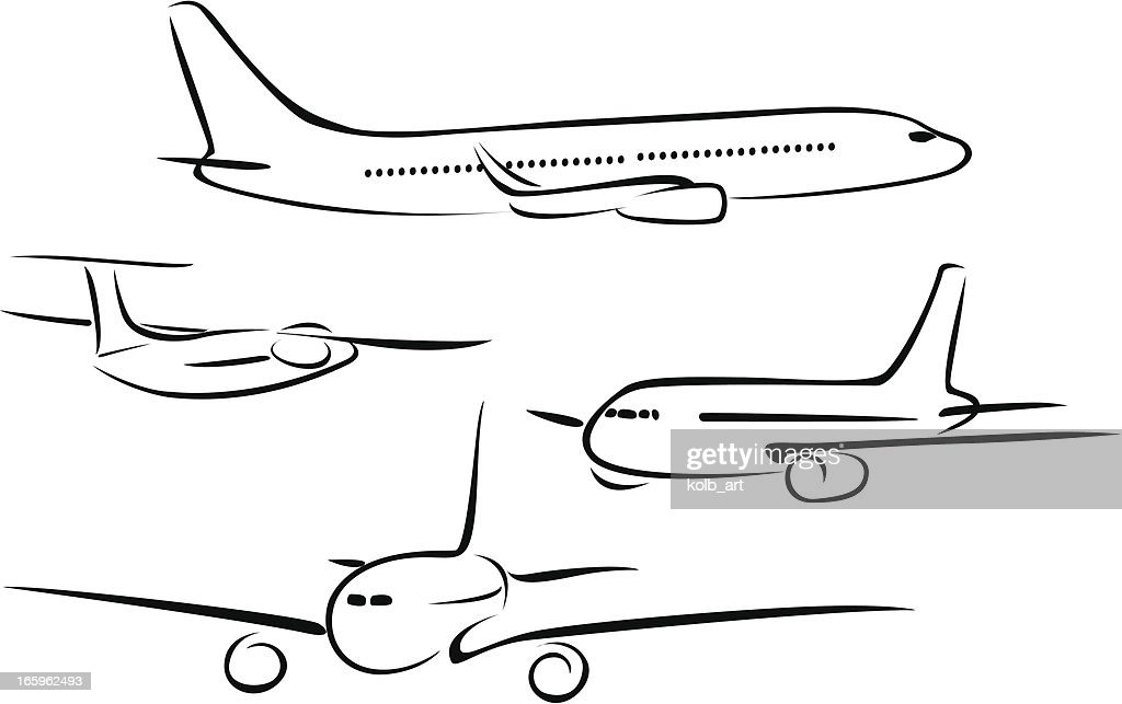 Line Drawings Of Aeroplanes High-Res Vector Graphic