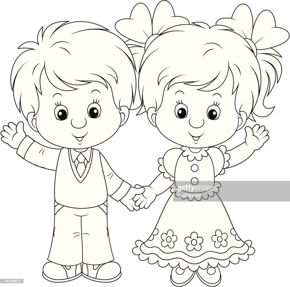 Little Boy And Girl Saludar Con La Mano arte vectorial