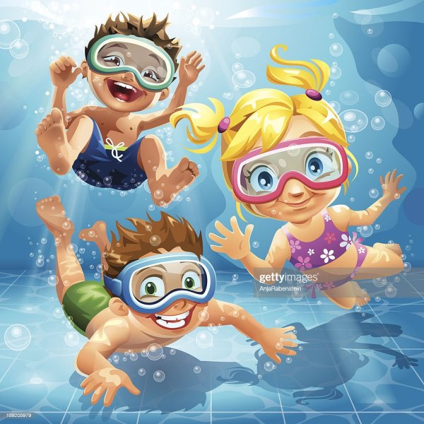 Little Kids Jumping Swimming And Diving In Pool Vector Art