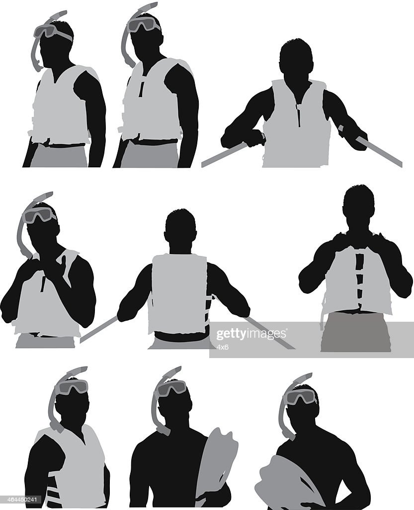 hight resolution of homme dans un masque et tuba clipart vectoriel