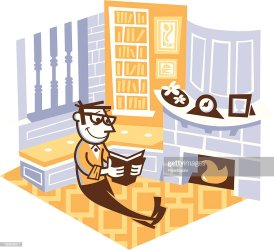 Man Reading In His Study Room High Res Vector Graphic Getty Images