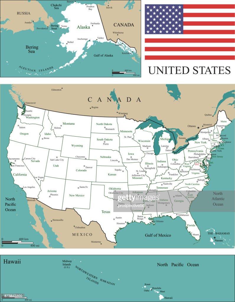 Etats Unis Carte Etats Et Capitales : etats, carte, capitales, Échelle, Carte, États, Capitales, Grandes, Villes, Lieux, Géographiques, Échelles, Miles, Kilomètres, Drapeau, Étatsunis, Vector