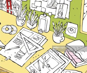 Messy And Crowded Student Office Desk Cartoon Illustration High Res Vector Graphic Getty Images