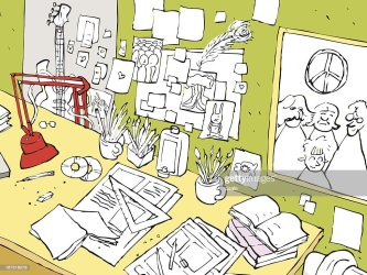 Messy Student Desk With Papers Pencils And Pictures High Res Vector Graphic Getty Images
