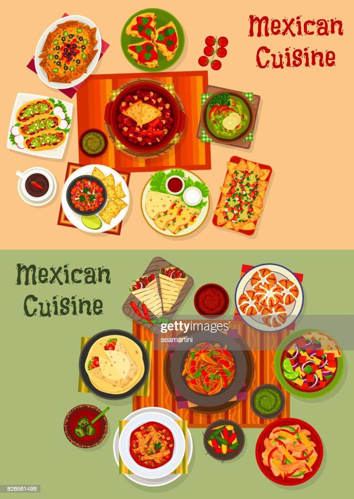 Conjunto De Icono De Platos De La Cocina Mexicana Cena Nacional arte vectorial  Thinkstock