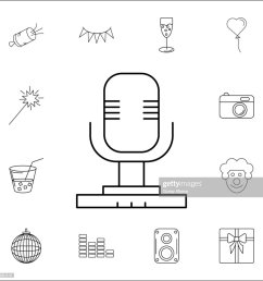 diagram symbools of microphone wiring librarymicrophone icon set of party icons signs outline symbols collection [ 1024 x 1024 Pixel ]