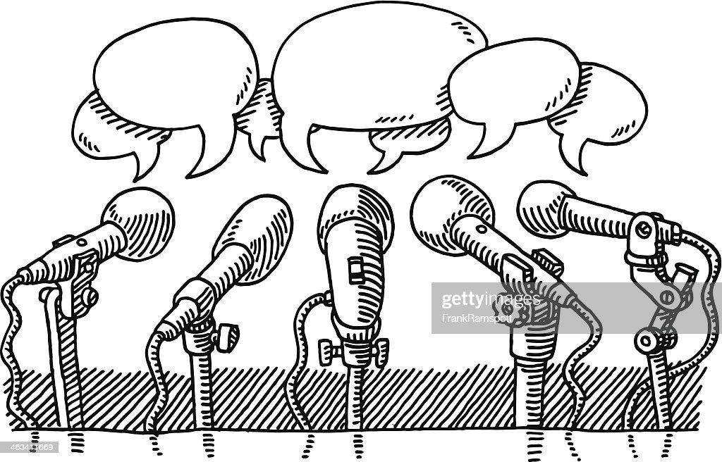 Microphones Press Speech Bubbles Drawing Vector Art