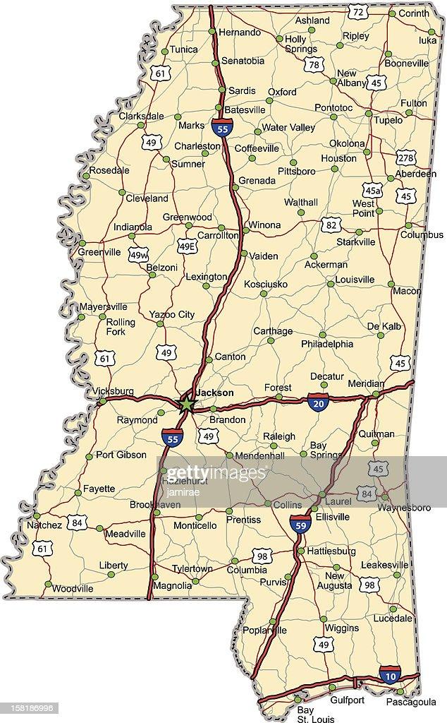 Mississippi Highway Map Vector Art Thinkstock
