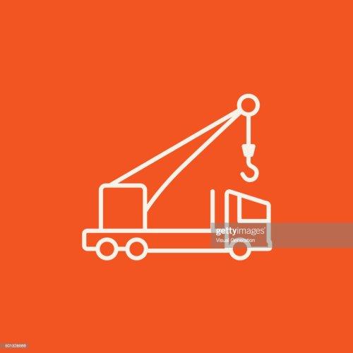 small resolution of mobile crane line icon stock vector