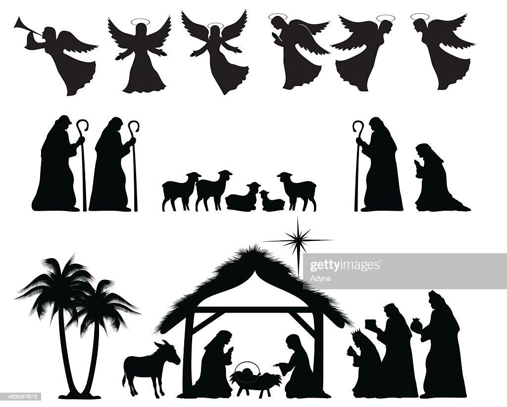 hight resolution of nativity silhouette