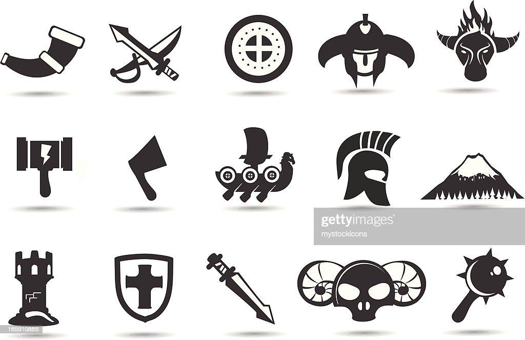 Norse Viking Icons Stock Illustration
