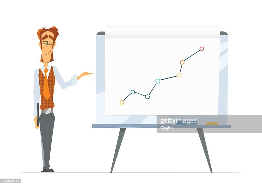 Office man and flip chart paper board whiteboard with grap vector art also flipchart rh thinkstockphotos