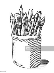 paint pencil brush drawing pen tin vector illustration brushes sketch pencils pens hand background sign graphic transparent vectors res embed