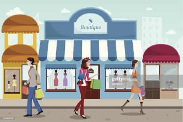 mall cartoon shopping french boutique vector outdoor vectors royalty