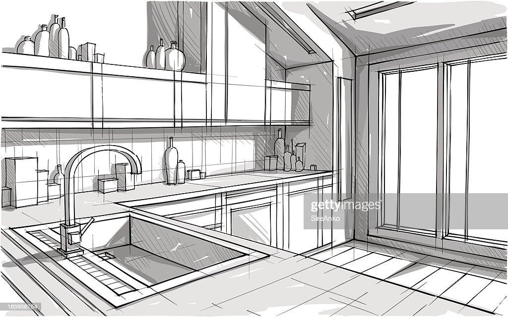 Kitchen Interior Design Drawing