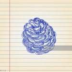 Pine Cone Drawing On Ruled Paper Ilustracao Getty Images