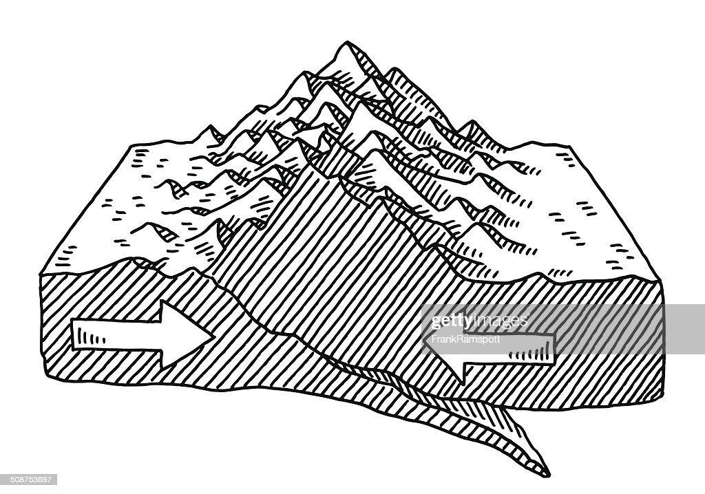 Plate Tectonics Mountain Forming Drawing Vector Art