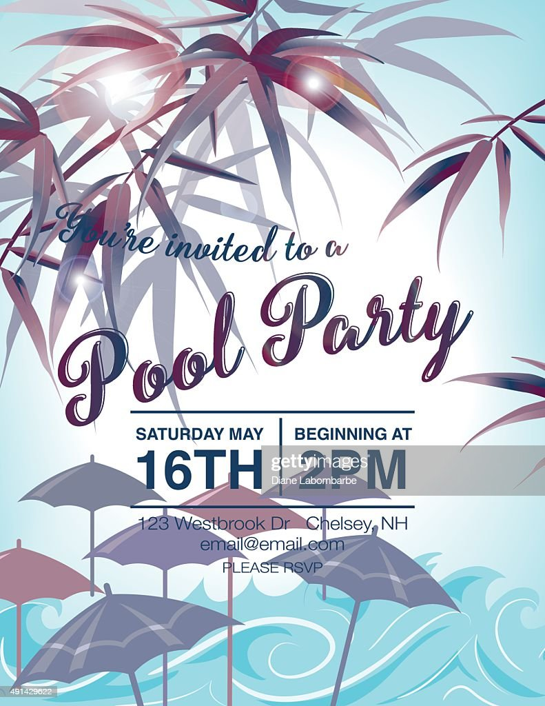 Pool Party Invitation Template With Palm Trees : Vector Art