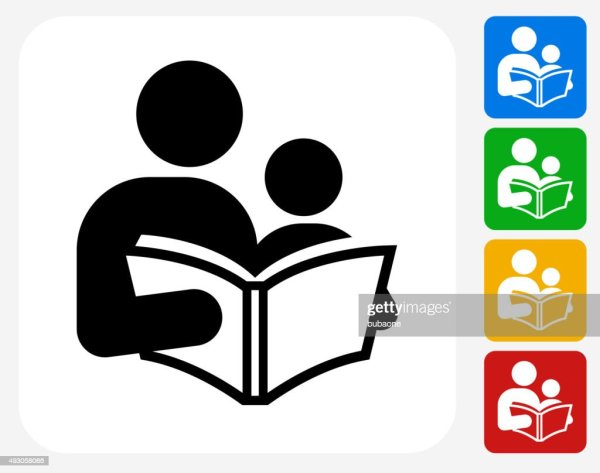 Reading And Children Icon Flat Graphic Design Vector Art