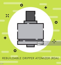 rebuildable dripper atomizer open outline vaping icon vector art [ 1024 x 1024 Pixel ]