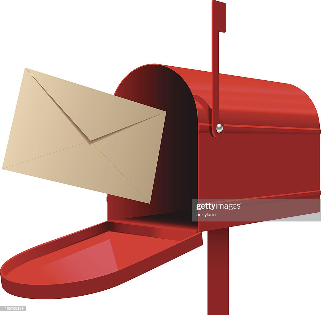 red mailbox with beige