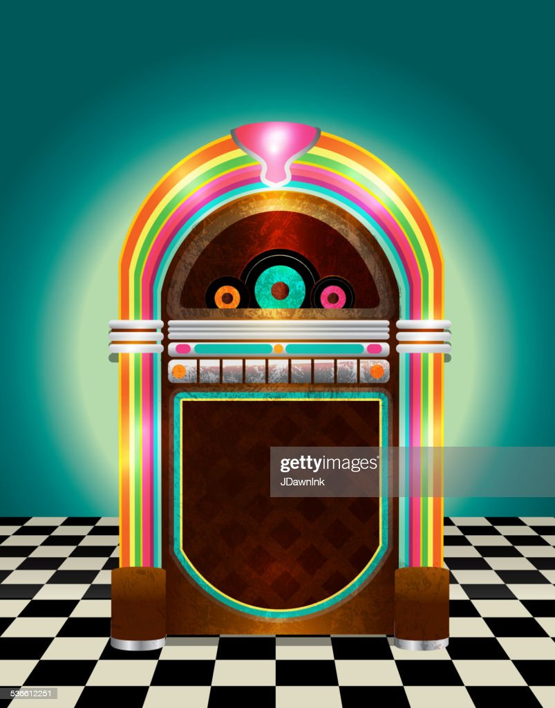 hight resolution of retro jukebox on checkered tile background