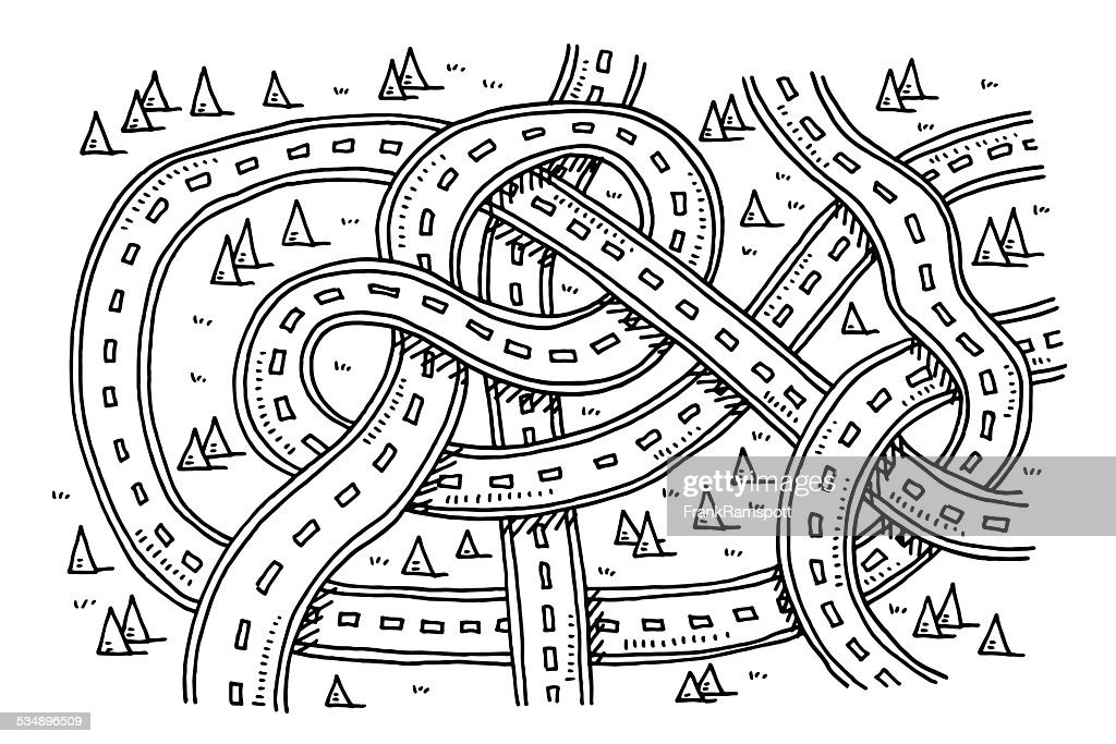 Roads View From Above Transportation Drawing stock