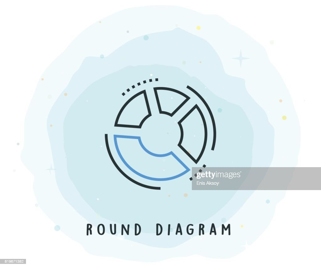 hight resolution of round diagram icon with watercolor patch vector art