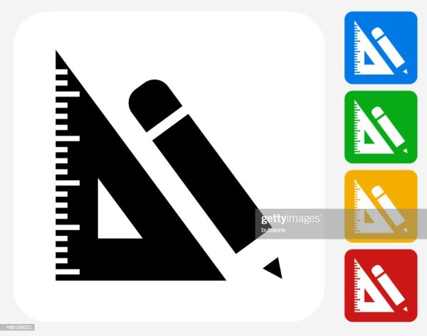Ruler And Pencil Icon Flat Graphic Design Vector Art