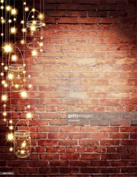Rustic Old Fashioned Brick Wall With Elegant String Lights ...