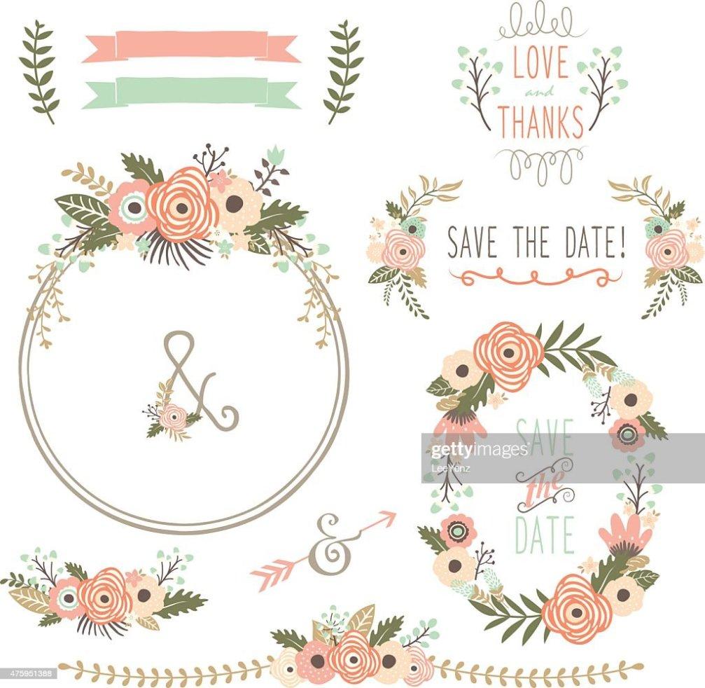 Mariage Fleur Rustique Wreath Illustration clipart