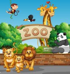 cadre avec des animaux sauvages au zoo clipart vectoriel [ 1024 x 958 Pixel ]